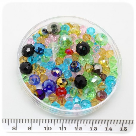 40 G - PERLINE VETRO SFACCETTATE MIX 6/30 MM - MULTICOLORE