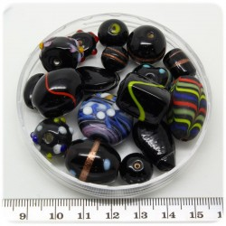 125 G - PERLINE VETRO NERO LAMPWORK MIX 10/30 MM - PERLE INDIANE COLORATE