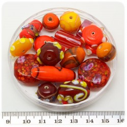 125 G - PERLINE VETRO ROSSO LAMPWORK MIX 10/30 MM - PERLE INDIANE COLORATE