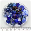 125 G - PERLINE VETRO BLU LAMPWORK MIX 10/30 MM - PERLE INDIANE COLORATE