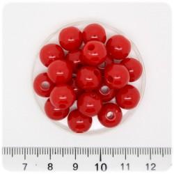 50 PZ - PERLE PLASTICA ROSSO - PERLINE ACRILICO TONDE 8 MM
