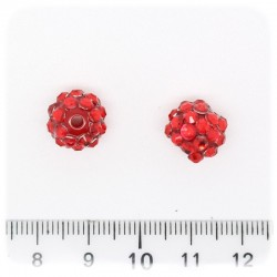 5 PZ - PERLE PAVE' ROSSO - PERLINE TONDE 12 MM RESINA STRASS