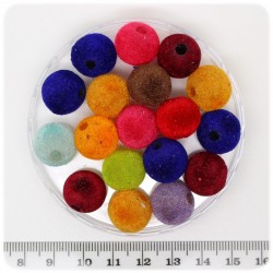 10 PZ - PERLINE MULTICOLORE RESINA - PERLE TONDE COLORATE 14 MM